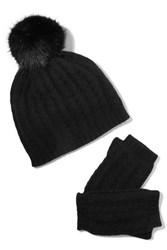 Portolano Faux Fur Trimmed Cable Knit Cashmere Beanie And Fingerless Gloves Set Black