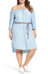 Democracy Plus Size Women's Chambray Off The Shoulder Shirtdress