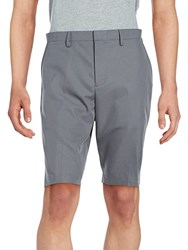 Saks Fifth Avenue Solid Woven Flat Front Shorts Granite
