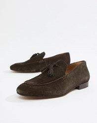 Hudson H By Bolton Tassel Loafers In Brown Suede