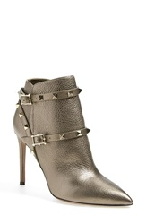 Valentino 'Rockstud' Pointy Toe Calfskin Leather Bootie Women Sasso Leather