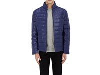 Barneys New York Men's Quilted Leather Jacket Blue