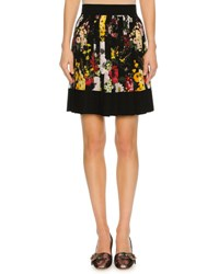 Dolce And Gabbana Floral Bouquet Pleated Miniskirt Black Black Pattern