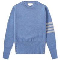 Thom Browne Milano Stitch Four Bar Crew Knit Blue