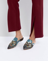 Kg By Kurt Geiger Peacock Feather Embellished Flat Mule Multi Other