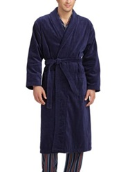 Derek Rose Towelling Robe Navy