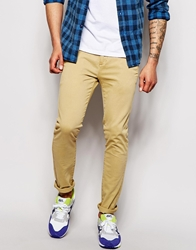 Solid Chinos In Slim Fit Stone