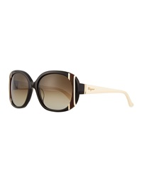 Salvatore Ferragamo Universal Fit Striped Butterfly Sunglasses Black Ivory