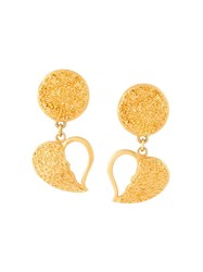 Yves Saint Laurent Vintage Broken Heart Clip On Earrings Yellow And Orange