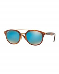 Ray Ban Men's Rb2183 Square Sunglasses Tortoise Blue Gradient Mirror Brown
