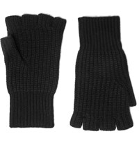 Rag And Bone Kaden Fingerless Ribbed Cashmere Gloves Black