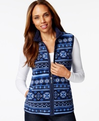 Karen Scott Sport Printed Faux Fur Trim Vest Only At Macy's Intrepid Blue