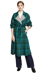 See By Chloe Plaid Trench Coat Multicolor Green