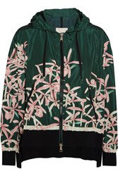 Moncler Comte Hooded Floral Print Shell Jacket Green
