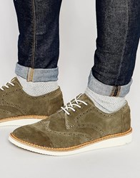 Toms Suede Brogue Shoes Green