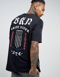 Asos Oversized T Shirt With Gothic Text And Flag Back Print Black