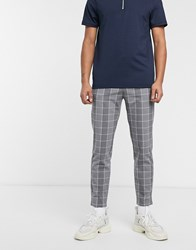 Bershka Skinny Windowpain Check Trousers In Grey