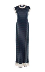 Sonia Rykiel Cap Sleeve Full Length Striped Slit Dress Blue