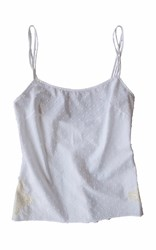 Lfrank Lingerie Bias Swiss Cotton Camisole With French Lace White