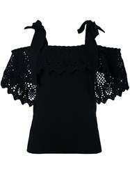 Irene Crochet Off Shoulder Blouse Women Cotton Nylon Polyester Rayon 36 Black