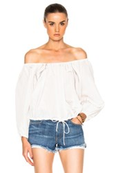 Sea Off The Shoulder Peasant Top In White