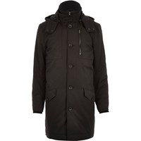 River Island Mens Black Casual Long Parka Jacket