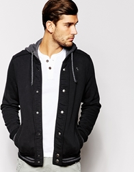 Abercrombie And Fitch Hooded Baseball Sweat Top Black