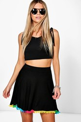 Boohoo Multi Coloured Pom Pom Skater Skirt Black