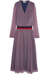Tory Burch Velma Striped Jersey Trimmed Printed Silk Crepe Dress Purple