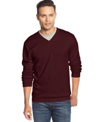 Weatherproof Vintage Solid V Neck Cashmere Blend Sweater Pinot Noir
