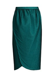 Emilio De La Morena Salma Wrap Front Knee Length Skirt Dark Green
