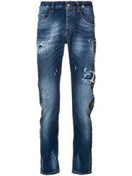 Frankie Morello Patchwork Distressed Jeans Blue