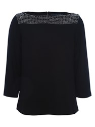 French Connection Crystal Shot Tunic Top Black Silver