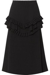 Maggie Marilyn Can You Spot Me Ruffled Ribbed Knit Midi Skirt Black