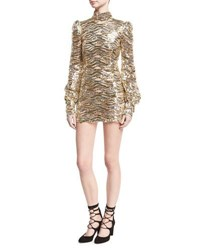 Marc Jacobs Sequined Mock Neck Mini Dress Gold