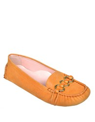 Taryn Rose Carmilla Patent Leather Loafers Orange