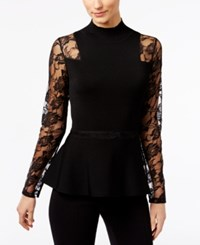Inc International Concepts Lace Sleeve Peplum Sweater Only At Macy's Deep Black