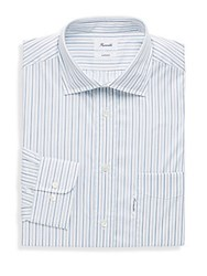 Faconnable Striped Spread Collar Cotton Dress Shirt Blue