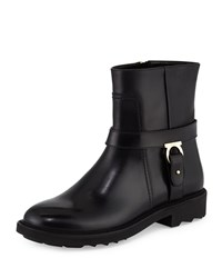 Lampo Leather Moto Boot Nero Salvatore Ferragamo