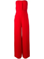 Valentino Cady Strapless Jumpsuit Red