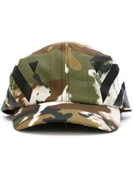 Off White Printed Camouflage Cap Green
