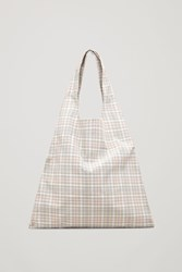 Cos Checked Tote Bag White