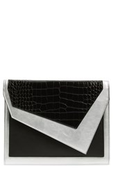 Leith Colorblock Faux Leather Envelope Clutch Black Black Multi