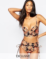 Wolf And Whistle Lace Up Plunge Bikini Top B G Multi
