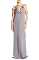 Women's Nouvelle Amsale 'Daryl' Ruffle Neck Chiffon Halter Gown