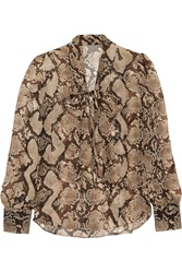 Altuzarra For Target Python Print Georgette Pussy Bow Blouse Animal Print