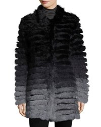 Neiman Marcus Ombre Knit Rabbit Fur Jacket Blk Gray