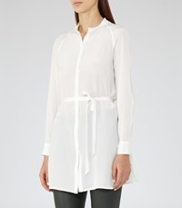 Reiss Veronique Womens Longline Silk Shirt In White