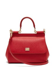 Dolce And Gabbana Sicily Small Leather Cross Body Bag Red