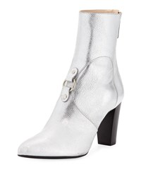 Altuzarra Lucy Harness Covered Metallic Leather Booties Gray